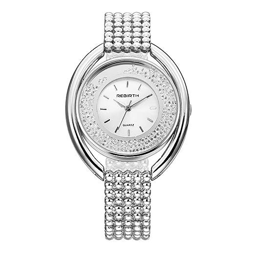 Relojes Pulsera Esfera Grande Rhinestone Enrollable Cuarzo Relojes Mujer Pulsera de Acero Inoxidable Lujo, Plateado: Amazon.es: Relojes