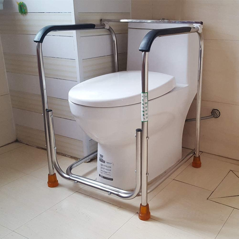 AXD Free Standing Toilet Surround Rail Frame, Stainless Steel Anti-Slip Handrail, for Handicapped Disabled Elderly Patients