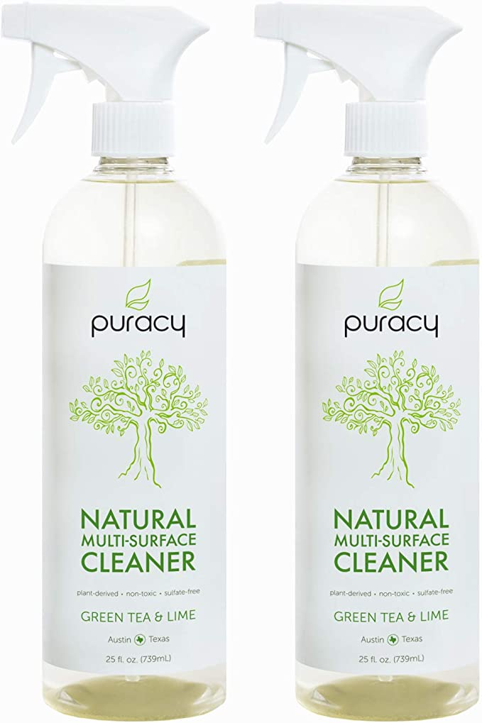 Puracy Natural All Purpose Cleaner, Streak-Free Household Multi-Surface Spray, Green Tea & Lime, 25 Ounce (2-Pack) best natural bathroom cleaning products