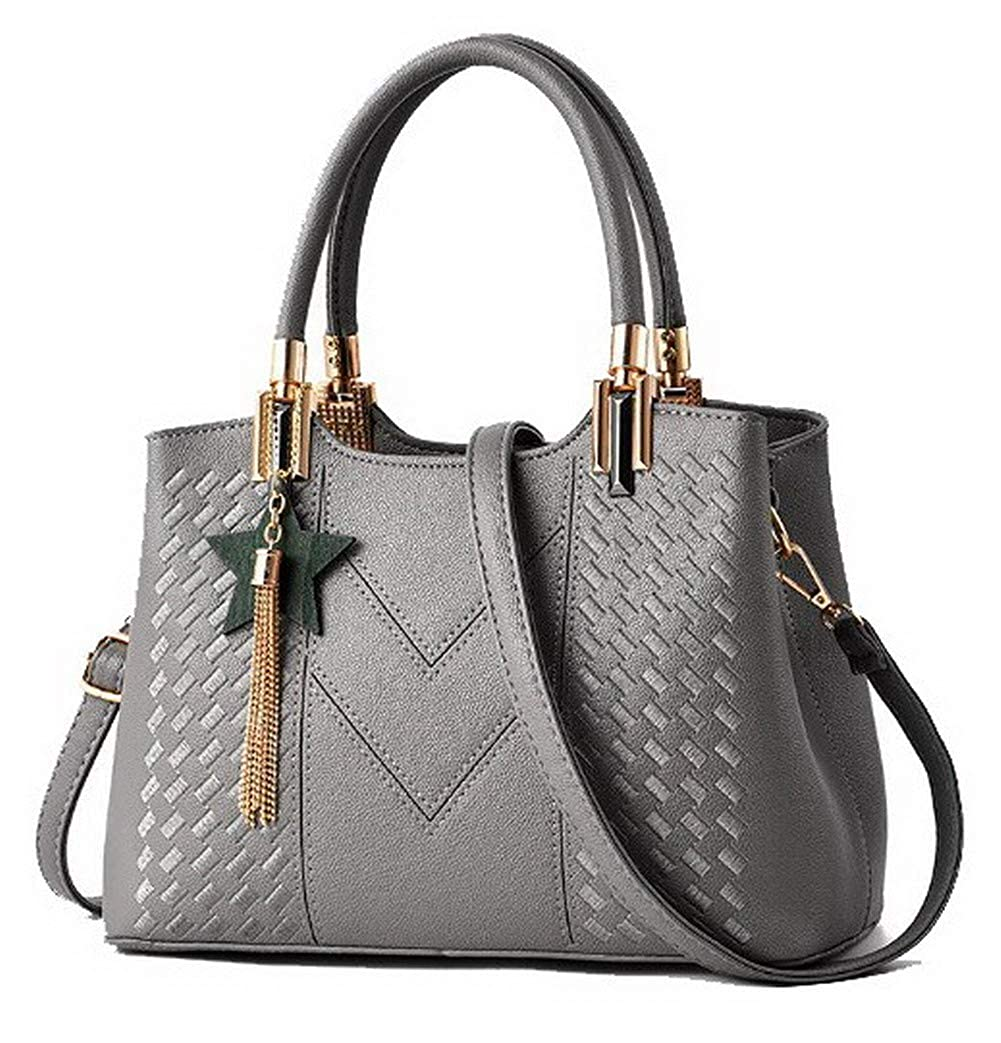 WeiPoot Women's Shopping Tote Bags Fringe Pu Crossbody Bags,EGHBG182538 Black EGHBG182538-Black