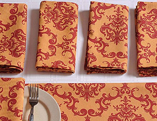 Patterned Cotton Dinner Napkins - 20'' x 20'' - Set of 24 Premium Table Linens for the Dining Room - Orange and Red Damask by ShalinIndia (Image #1)