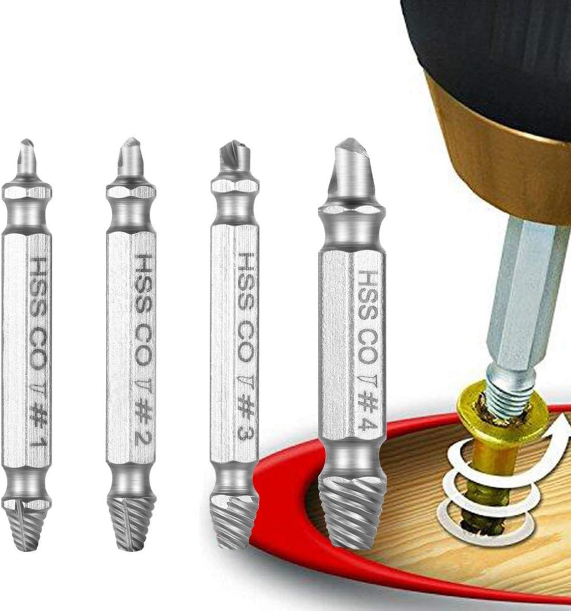 Camtek 4 Piezas Extractor de Tornillos Elimina los tornillos dañados removedor de tornillo Broca Herramienta para Sacar Tornillos Roto