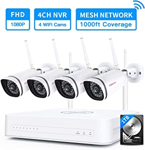 Foscam Mesh WiFi Network Security Camera System Ranges up to 1000ft, 4CH H.264+ NVR Surveillance CCTV System with 4pcs Outdoor 1080P IP Cameras, Motion Detection, 65ft Night Vision, 1TB HDD Included