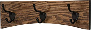"""product image for PegandRail Oak Curved Back Wall Mounted Coat Rack - Bronze Hooks - Made in The USA (Walnut, 15"""" x 4.5"""" - 3 Hooks)"""