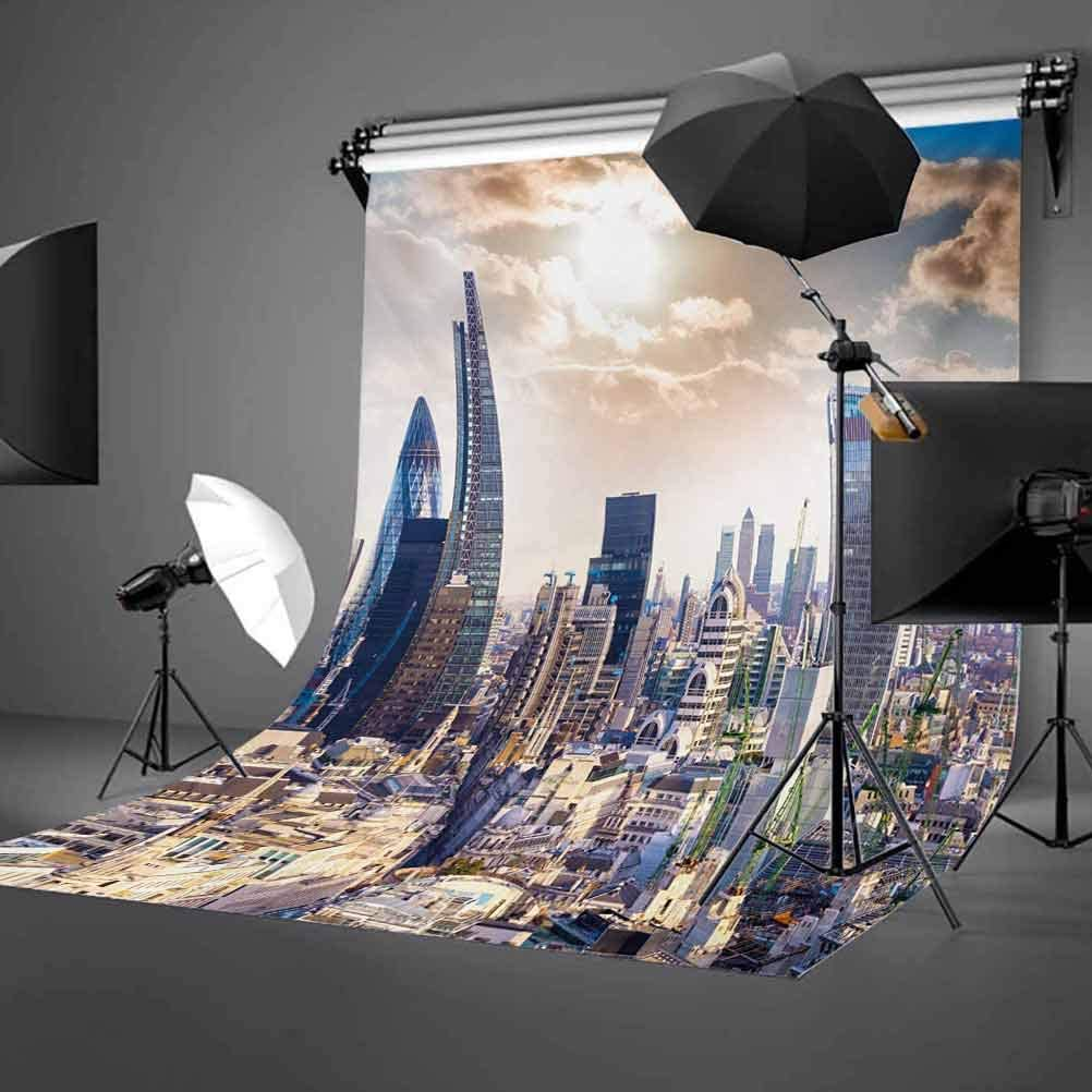 City 10x12 FT Backdrop Photographers,Modern District London Aerial Image Famous Architecture Dramatic Sky in England Background for Photography Kids Adult Photo Booth Video Shoot Vinyl Studio Props