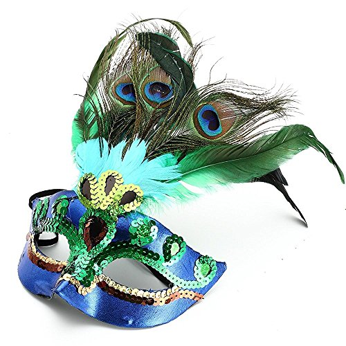 Party Mask Woman Female Masquerade Masks Luxury Peacock Feathers Half Face Mask Party Cosplay Costume Halloween Venetian Mask]()
