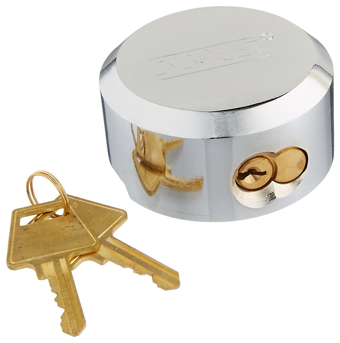 NU-SET 5373-3 Hidden Shackle Padlock with Hockey Puck Lock, Solid Steel