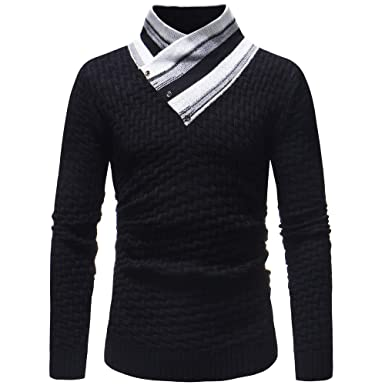 569bccc2705 Amazon.com  Misaky Men s Autumn Winter Fashion Causal Splicing Casual  Sweatshirt Top Blouse Jersey Knit  Clothing