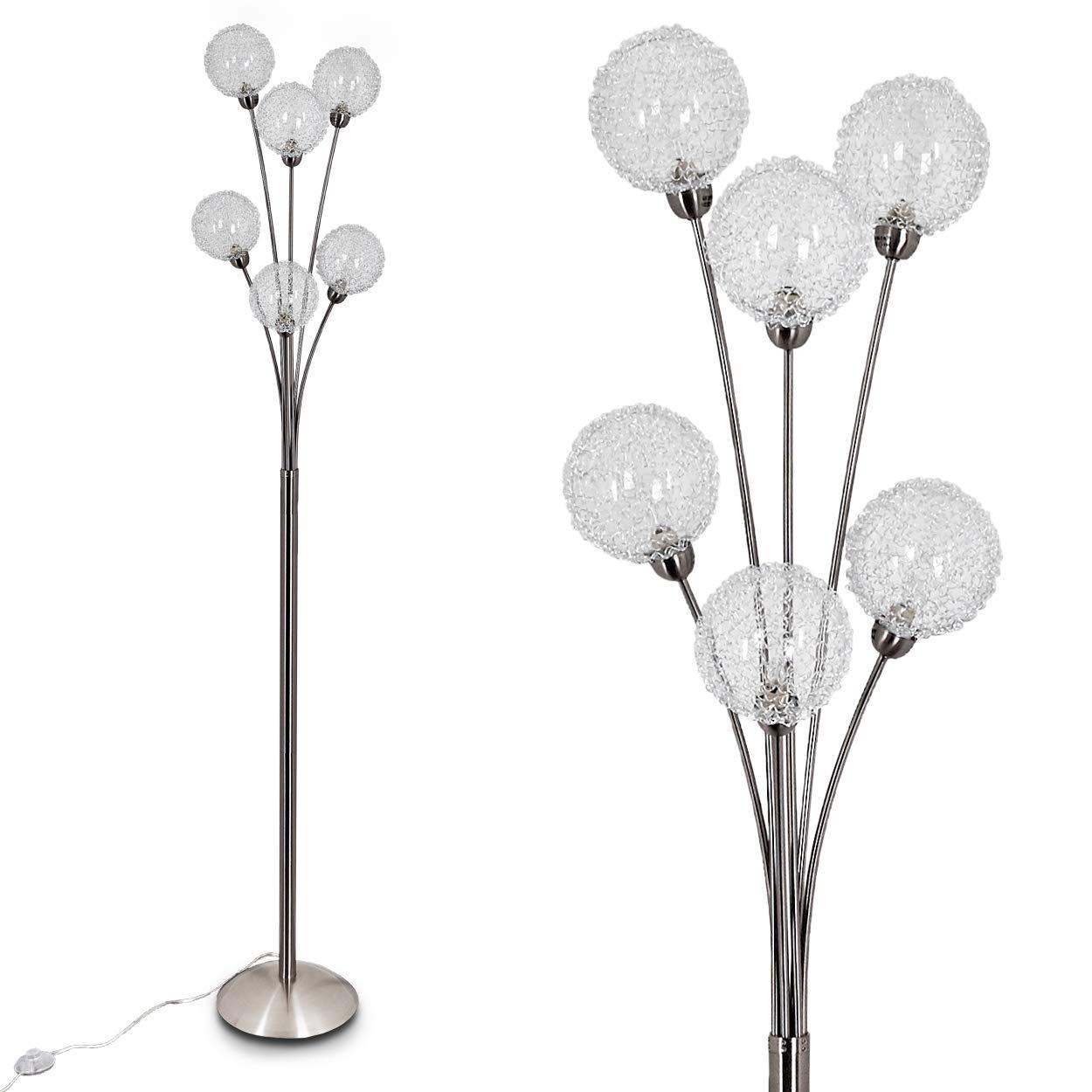 salon Lampe sur pied futuriste avec effets lumineux Lampadaire pour chambre 6 douilles G9 Lampe en métal chromé Lampadaire Kotlik à 6 boules en fil de fer salle à manger hofstein