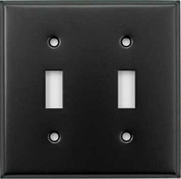Black 2 Gang Toggle Switch Wall Plate 2 Toggles Amazon Com