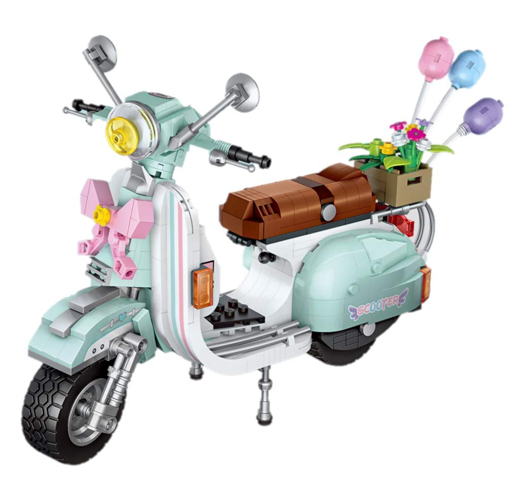LOZ inFUNity Vespa Moped Gas Scooter Building Blocks Toy Model (673 PCS) for Creator Expert Fans, English Box and Instruction by LOZ