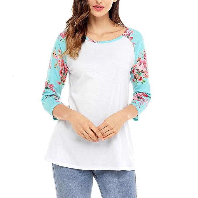 Hzjundasi Moda Elegante Scoop Cuello Camiseta Mujer 3/4 manga Floral Estampado Tops Blusas Delgadas