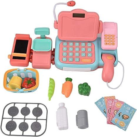 Juguete de caja registradora, Durable Cash Register Toy Supermercado infantil Supermercado Juguete con micrófono y sonidos Ideal para niños pequeños y preescolares: Amazon.es: Bebé