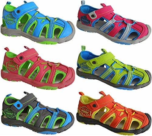 Kinder Trekking Sandale Schuhe Outdoorsandale Sandalette gr.24 - 29 art.nr.1319 grau-blau-grün