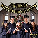 KATCHON We are so proud of you Banner - No DIY Required | Black and Gold - USA, Graduations Party Supplies | Classy and Luxurious Graduation Banner for Graduation Decorations, Grad Party, Large