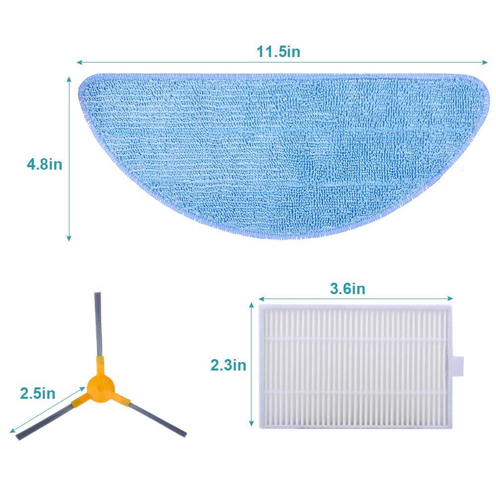 10 filtri di ricambio e spazzole laterali compatibili con aspirapolvere Proscenic 800T KEEPOW