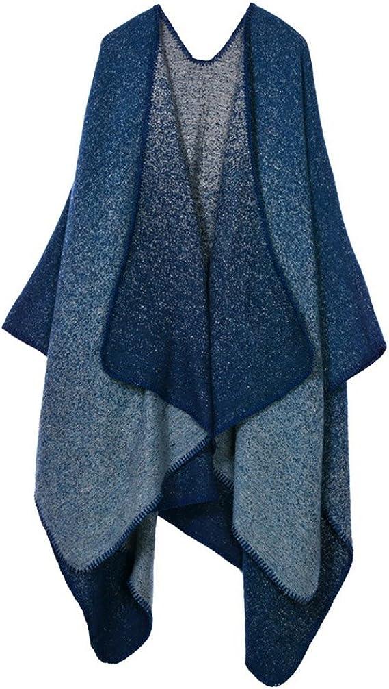 Donna Poncho Mantelle Elegante Vintage Etno-Style Stampato Pattern Casual Autunno Inverno Calda Knitted Reversibile Morbidi Scialle Capes Mantellina Cardigan Cappotto Taglie Forti