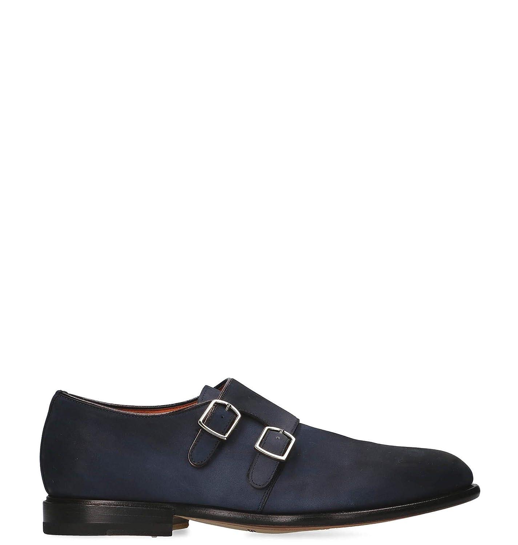 - Santoni Herren MCCO16464LC7ECTYU45 Blau Wildleder Monk-Schuhe
