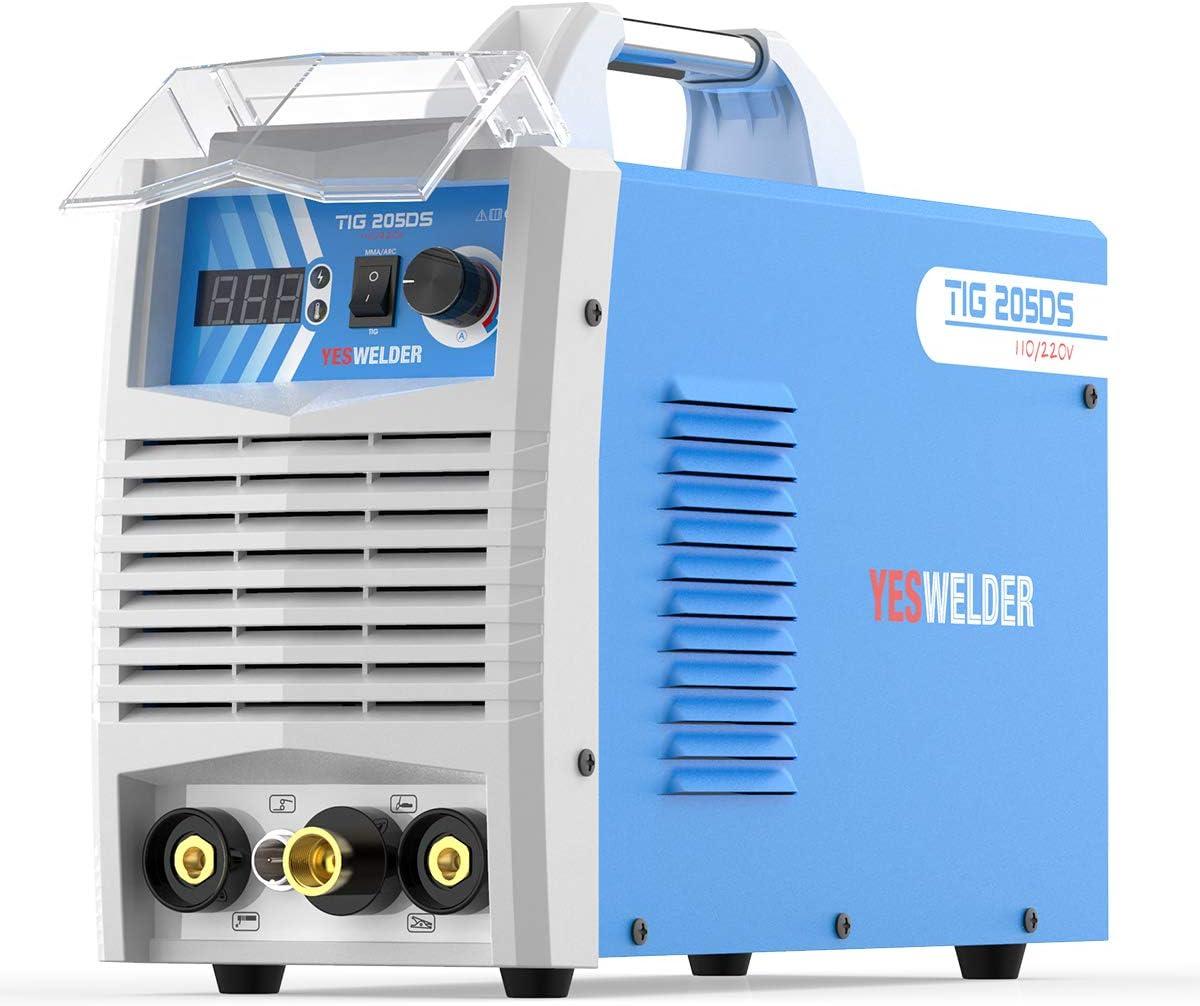 YESWELDER TIG-205DS 200 Amp HF TIG Torch//Stick//Arc TIG Welder 110 /& 220V Dual Voltage TIG Welding Machine