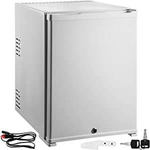 VBENLEM 1cu.ft 110V 12V Portable Refrigerator AC DC No Noise Compact Absorption Fridge White Mini Car Cooler with Lock Reversible Door for Apartment Hotel Hospital Camping Traveling Vehicle RV Boat