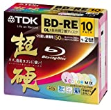 10 New TDK Bluray Discs 50 GB BD-RE 2X Speed Rewritable Blu-Ray Video Color Mix Inkjet Printable