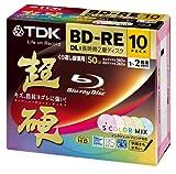 10 New TDK Bluray Discs 50 GB BD-RE 2X Speed Rewritable Blu-Ray Video Color Mix Inkjet Printable