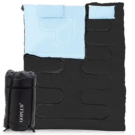 GYMAX Saco de Dormir Doble, tamaño Queen, 220 x 152 cm, para 2 Personas, Saco de Dormir Impermeable para Senderismo, Camping, Viajes y mochileros con 2 ...