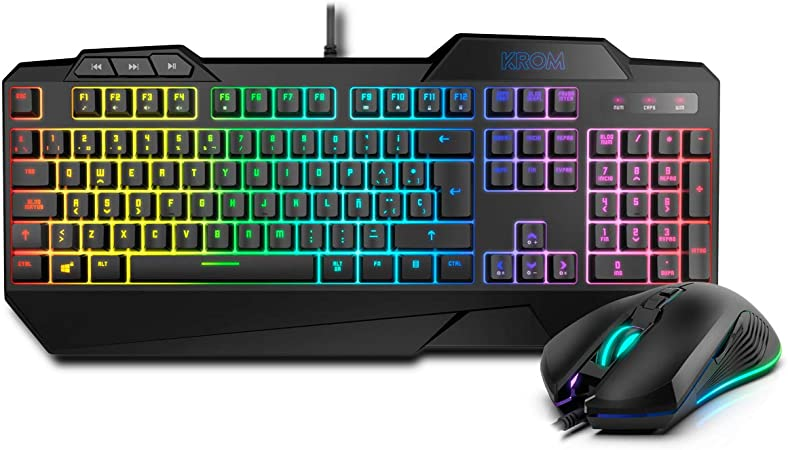 Krom KRUSHER - NXKROMKRSHRSP - Combo Gaming Teclado + Raton - Teclado Semi-Mecánico Retroiluminado, Ratón con Sensor Optico 6400 DPI LED 6 colores