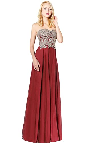 King's Love Women's Rhinestone Lace Bridesmaid Dresses Chiffon Long Wedding Party Dress