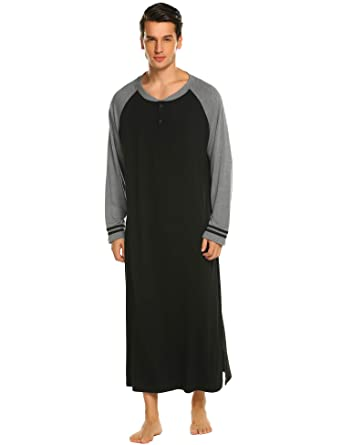 Ekouaer Sleep Henley Top Men Nightgowns Lightweight Long Nightshirt (Black 607656398
