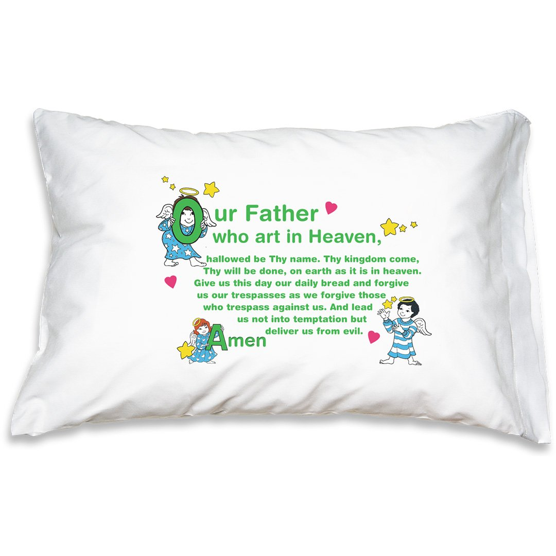 IHMdesigns - Catholic Prayer Pillowcase - Little Angels Hail Mary and Our Father