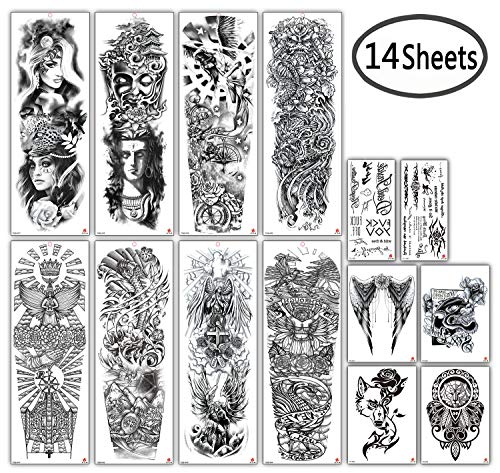 DaLin Extra Large Full Arm Temporary Tattoos and Half Arm Tattoo Sleeves for Men Women, 14 Sheets (Collection 4)
