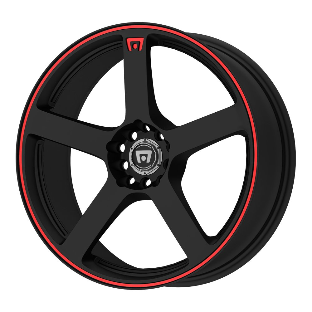 "Motegi Racing MR116 Matte Black Wheel With Red Racing Stripe (15x6.5""/4x100, 108mm, +40mm offset)"