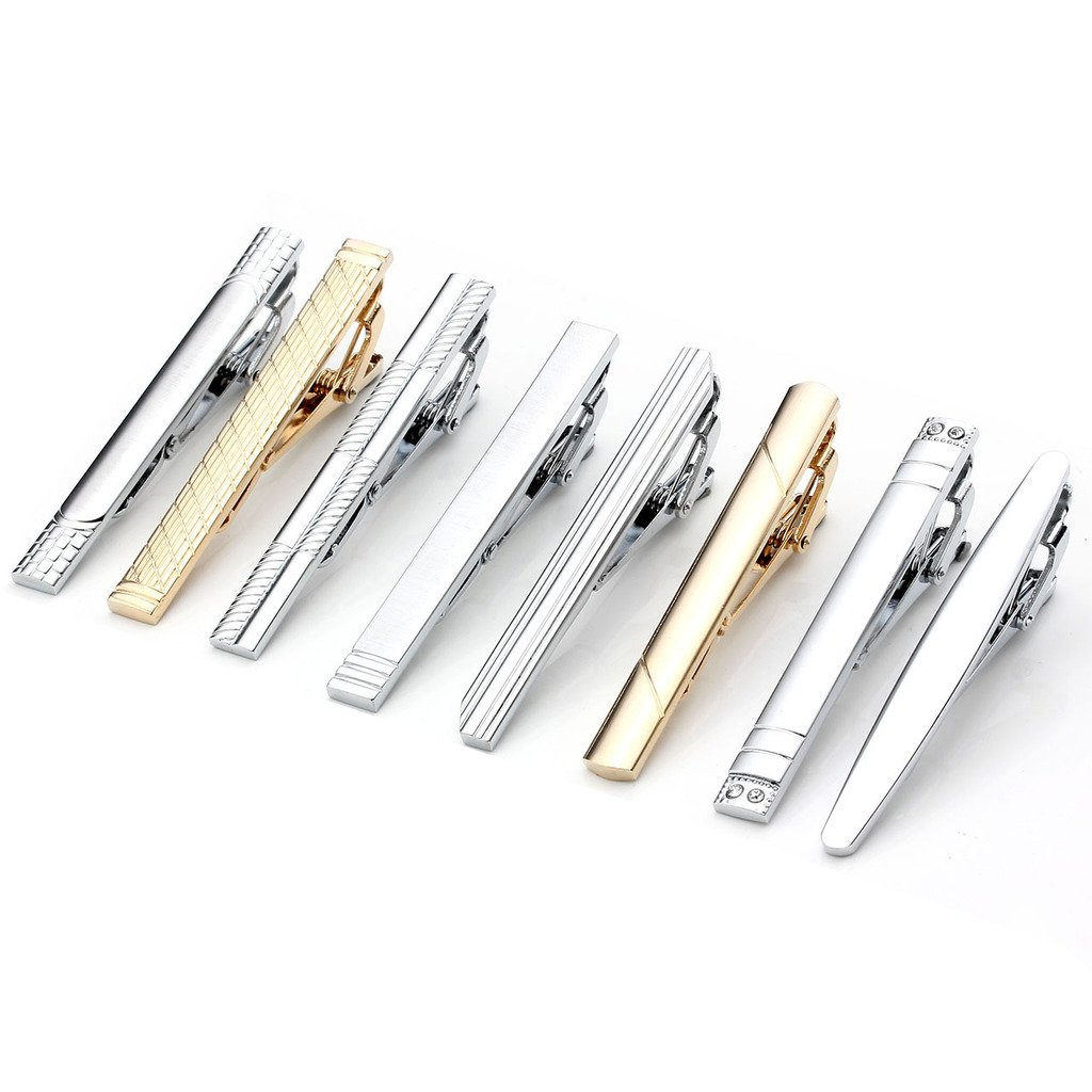 PiercingJ 5-10pcs Set Stainless Steel Exquisite GQ Classic Tie Bar Clip, 2.3 Inches