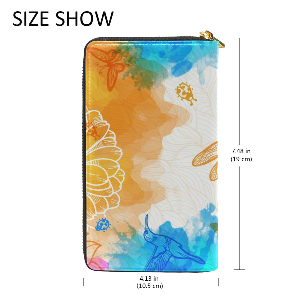GIOVANIOR Flowers Butterfly Dragonfly Womens Clutch Purses Organizer And Handbags Zip Around Wallet