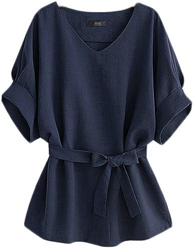 Mujer Camisas y Blusas Gasa Manga Corta Elegantes Casual Basica Blusas para Oficina Camisetas Cuello V Shirt Top: Amazon.es: Ropa y accesorios