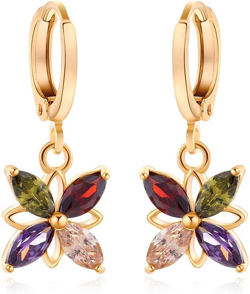Yazilind oro 18K plateó los pendientes de circonio cúbico del embutido encantador de la flor del aro cuelga para regalo de las mujeres