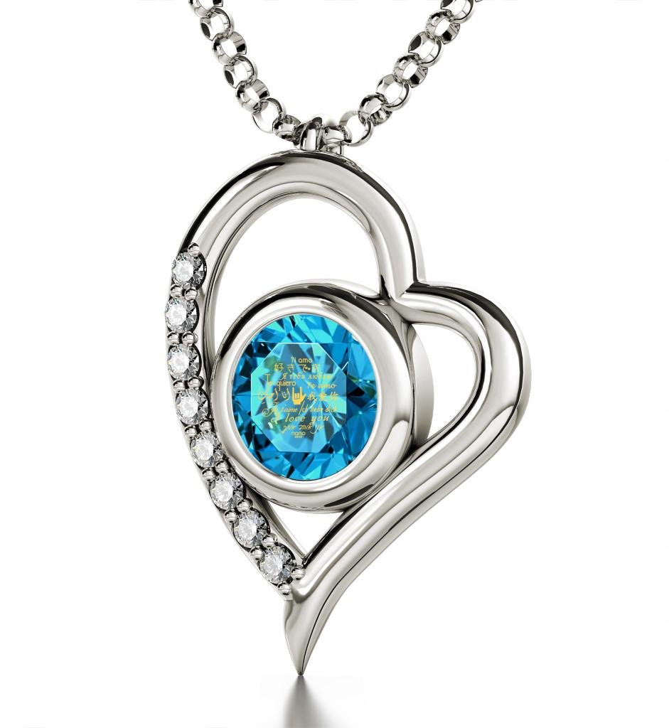 925 Sterling Silver Heart Pendant Necklace I Love You 12 Languages 24k Gold Inscribed Blue Crystal, 18''