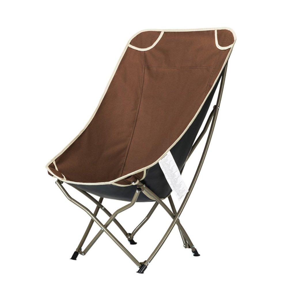 LDFN Portable Camping Chair Outdoor Skizze Falten BBQ Multifunktions Eisen und Oxford Tuch Sessel,Braun-546075cm