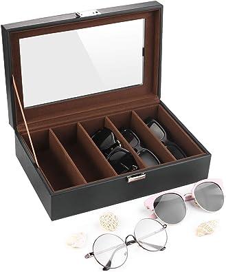SHYOSUCCE 5 Ranuras Caja para Gafas con Ventana de Cristal Transparente, Organizador de Gafas para Guardar y Exhibir Gafas de Miopía, Gafas de Sol y Gafas de Lectura, Negro (29x18.5x8cm): Amazon.es: Joyería