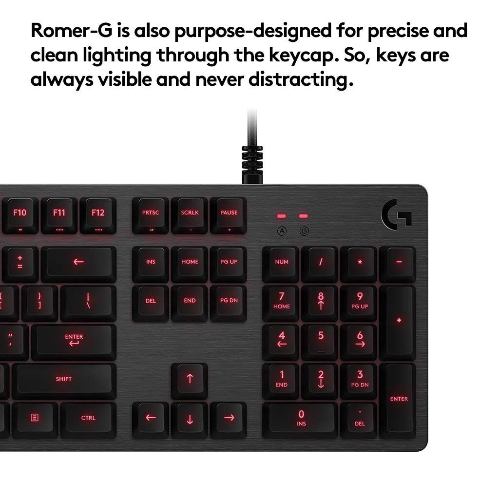 Logitech G413 Backlit Mechanical Gaming Keyboard with USB Passthrough Carbon