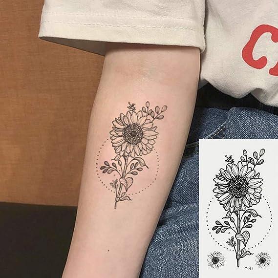 Oottati 2 Hojas Pequeño Lindo Tatuaje Temporal Tattoo Girasol ...