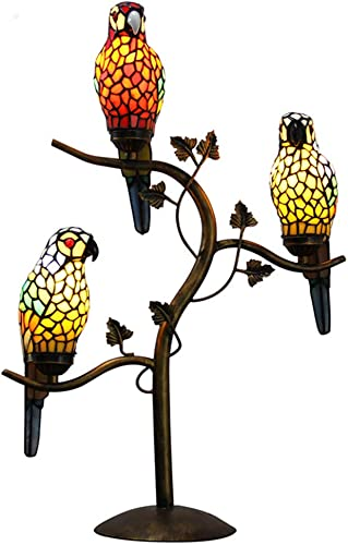 Makernier Tiffany Style Table Desk Lamp Light Stained Glass Vintage Antique Style 3-Light Parrot Tree Branch