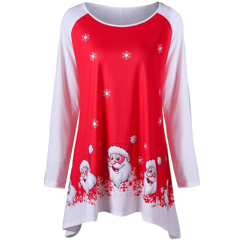 Cebbay Haut Femme T-Shirt Veste, Sourire Père Noël Imprimer Robe Chic Pullover Mode O-Cou Manteau, Hiver Sweatshirt Chemisier et Blouse Top