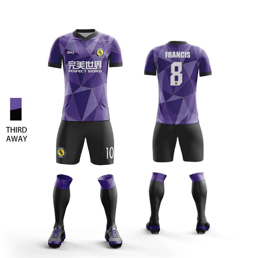 OrkyカスタムメンズSoccer Uniform Kids Soccer Jersey and Short Set wsj1704 B078FZ6NPJ XL|Purple(third away) Purple(third away) XL