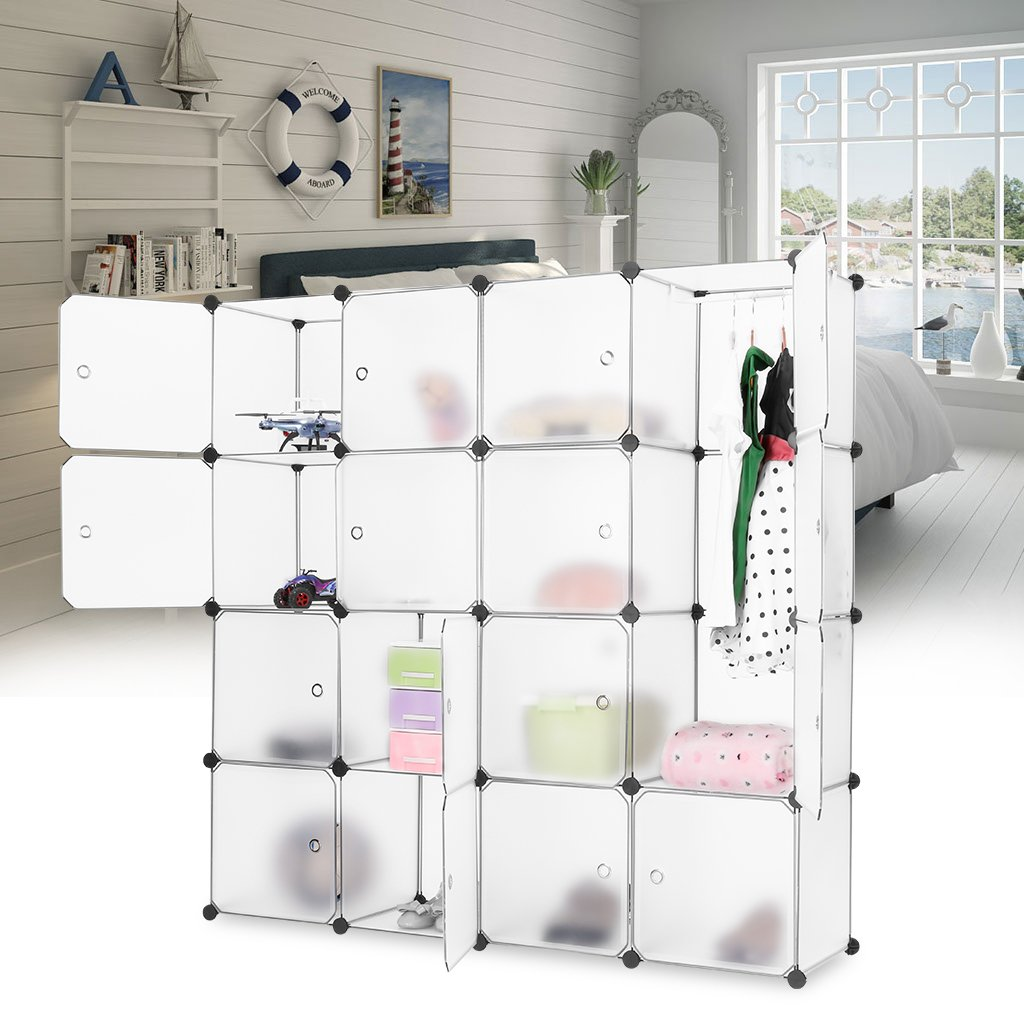 Modular storage furniture systems - Langria 16 Cube Modular Shelving Storage Organizing Closet With Translucent Doors And Cube Design For Clothes Shoes Toys And Books White Amazon Co Uk