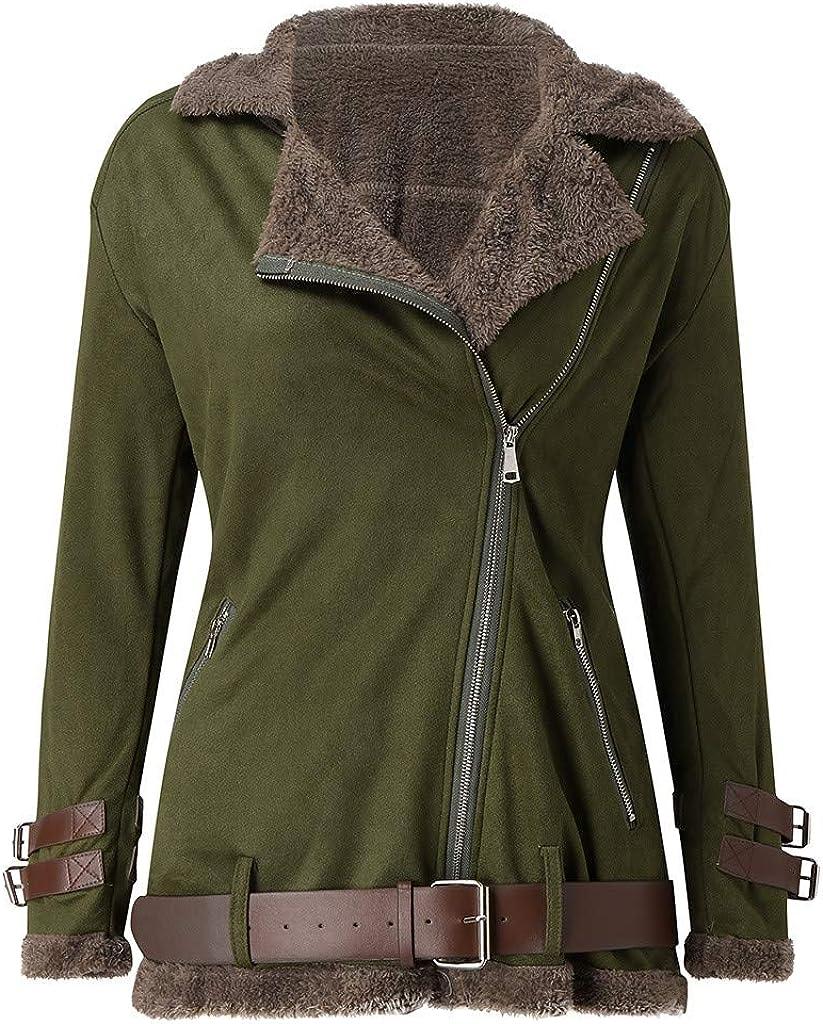 STORTO Women Velvet Lapel Long Coat,Open Frant Thicker Warm Winter Zipper Outwear