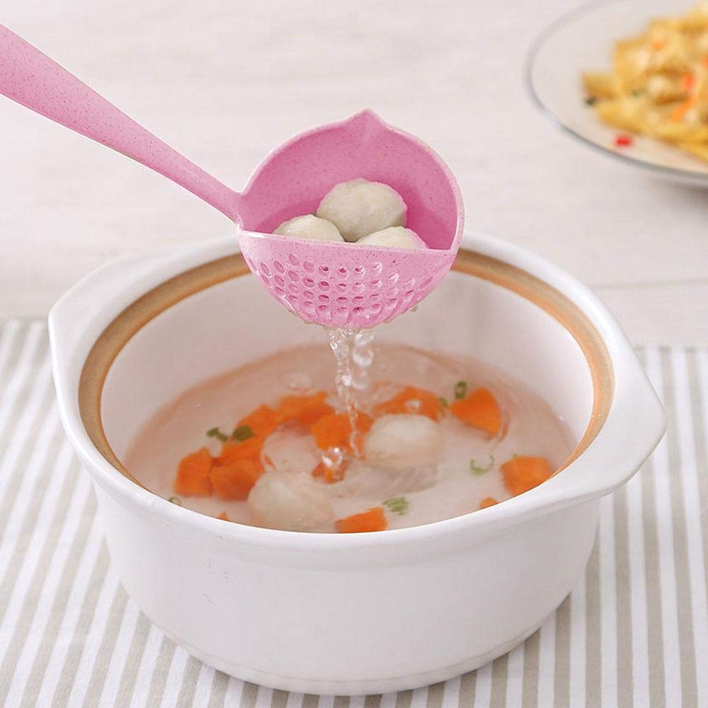 Long Handle for Serving /& Scooping Sauces 2 in 1 Creative Cooking Skimmer with Colander Filter Volwco Soup Ladle Spoon Gravy and More 2 Pcs Slotted Spoon Soup Ladle 11.5 Inches