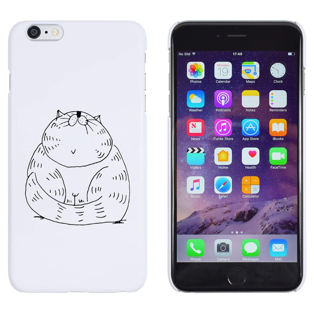 uk availability 9e5c0 4a701 White 'Chubby Cat' Case / Cover for iPhone 6 Plus & 6S Plus ...