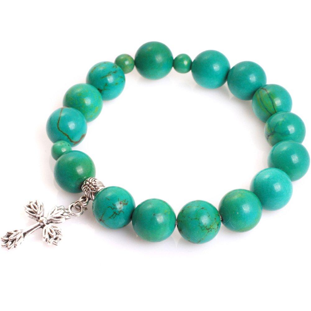 Gem-inside 12mm Mala Prayer Rosary Beads Cross Bracelet Catholic Christian Jewelry for Man Women 7 Inches GM11246